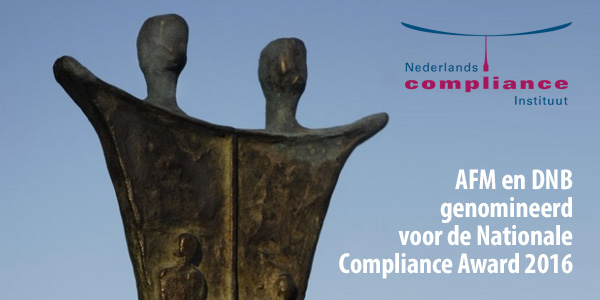 AFM en DNB genomineerd voor de Nationale Compliance Award 2016