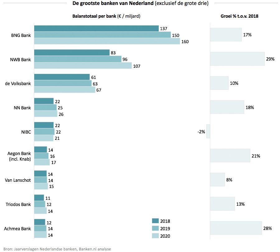 De grootste banken van Nederland - Exclusief de grote drie