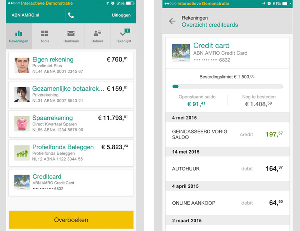Creditcardgegevens in ABN AMRO app - 2
