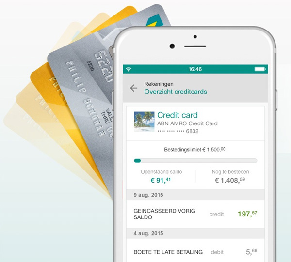 Creditcardgegevens in ABN AMRO app